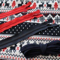 Трикотажное полотно Олени на вельбо, шнур и молнии