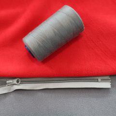 молния спираль тип 5 серая и 2хсторонний флис красно-серый, ниточки пр-ва Турция 4000м серые