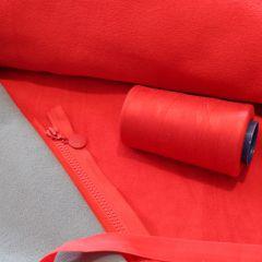 молния трактор тип 5 красная (кр.пуллер)  и 2хсторонний флис красно-серый, ниточки пр-ва Турция 4000м красные, бейка-резинка 2см
