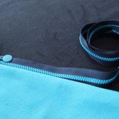 молния темно-синяя с голубыми звньями 80см и 2хсторонний флис темно-синий+голубой