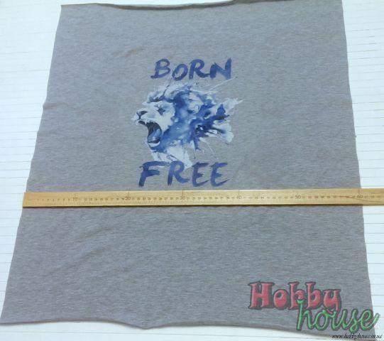 """Цифровая печать на стрейч-кулире серый меланж """"рожден свободным"""" размер полочки 60х70см (+- 3см)  Цена 135 грн (Проведена ВТО)"""