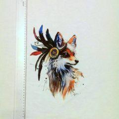 """Прямая печать на футере 3-хнитка с начесом  """"лиса""""  полочка 60х70 см  Цена 150 грн"""