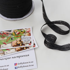 Лента нитепрошивная, строчка, 12 мм, черный - 4 грн./м