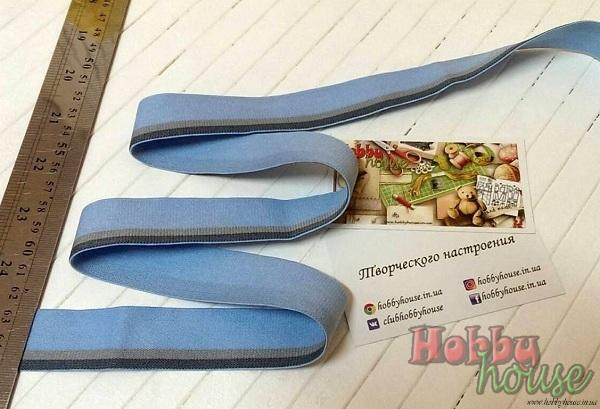 резинка мужская серо-голубая 2,5 см - 15 грн./м