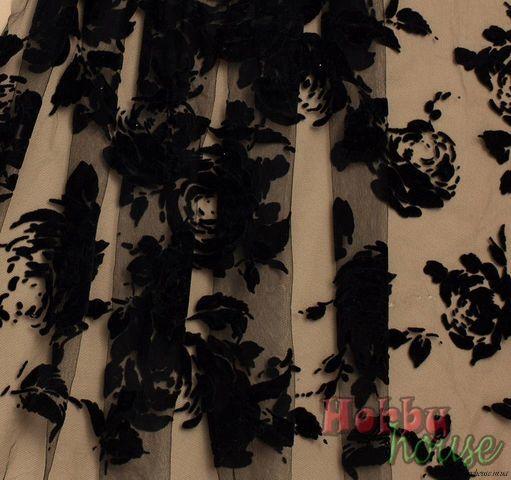 флок розы черные, шир. 150 см - 116 грн./м