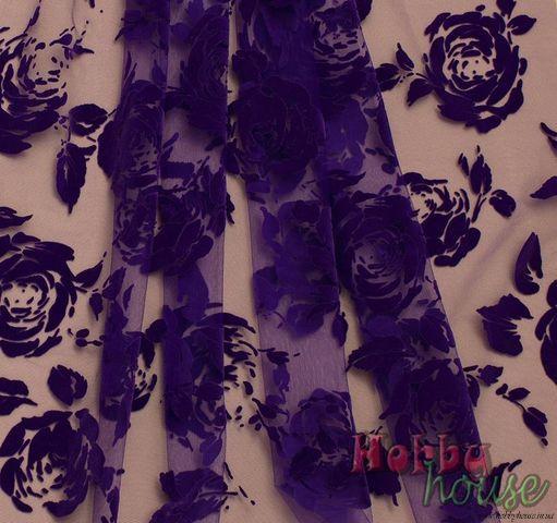 флок розы фиолетовые, шир. 150 см - 116 грн./м