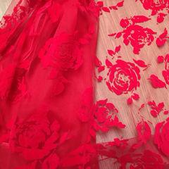 флок розы красные, шир. 150 см - 116 грн./м