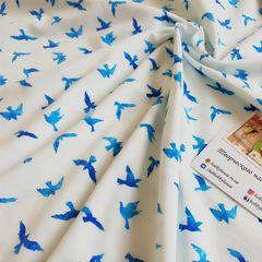 стрейч-кулир Голубые птички 160 см - 140 грн./м