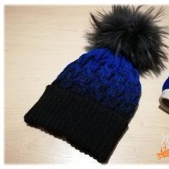 сине черная шапка