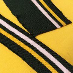 Узкий манжет бело-желтая полоска на зеленом (8,2х145 см) - 25 грн./шт.