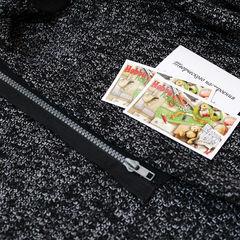 вязаное трикотажное полотно Букле и черная молния с серым зубом