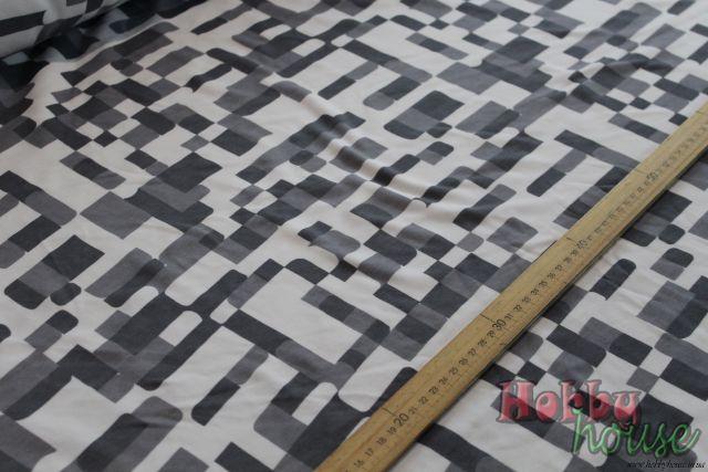 Интерлок бело-серая печать 100%хб, пл. 280, шир. 160 см - 130 грн./м