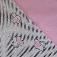 Футер 2-нитка розовые сердца и розовый - 82 грн./м