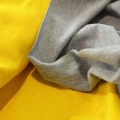 футер хб - 3-нитка желтая петелька и стрейч-футер 2-нитка серый меланж с начесом