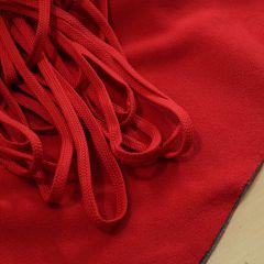 Красный плоский шнур (на фоне серо-красного флиса), шир. 8 мм - 3,50 грн./м