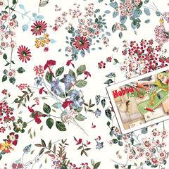Стрейч-кулир 95/5 пенье мелкие цветочки на белом пл. 165 - 145 грн./м