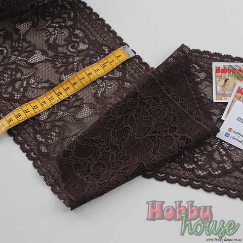 Стрейч-кружево коричневое 606-К 16,5 см - 45 грн./м