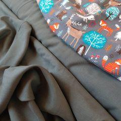 сочетание рубашечной ткани темный хаки и стрейч-кулира лес