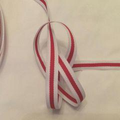 репсовая лента бело-красная (1 см) - 3,50 грн./м