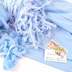 ажурная резинка, бейка-резинка и  стрейч-кулир небесно-голубого цвета