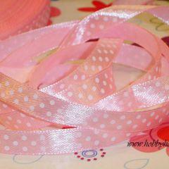 лента атласная розовая в белую крапинку. Ширина 10мм Цена 1,30 грн/м