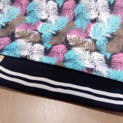 плащевка перья и манжет белые полосы на синем