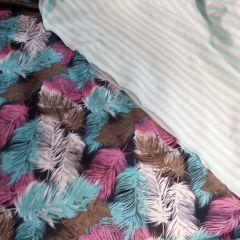 Плащевка перья и кулир бело-ментоловая полоска